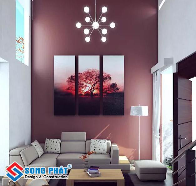 Chọn màu sơn nóng cho phòng khách giúp không gian trở nên ấm cúng, gần gũi