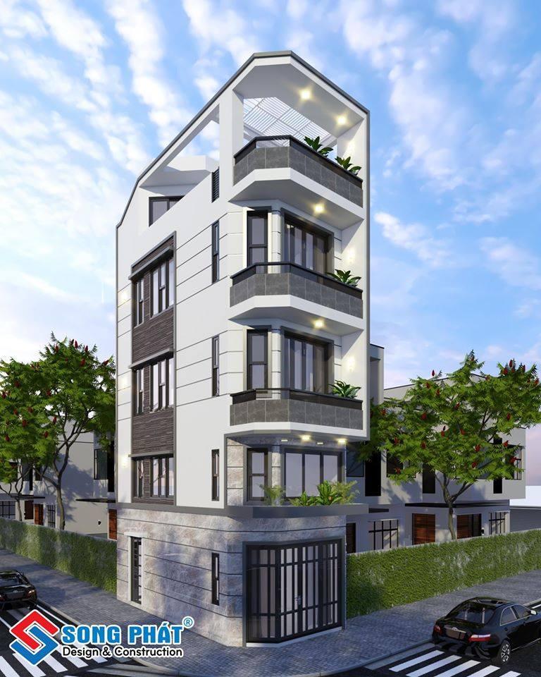 Nhà 4 tầng mái BTCT đẹp với thiết kế tầng lửng cho gia đình người Hoa tại Quận 11.