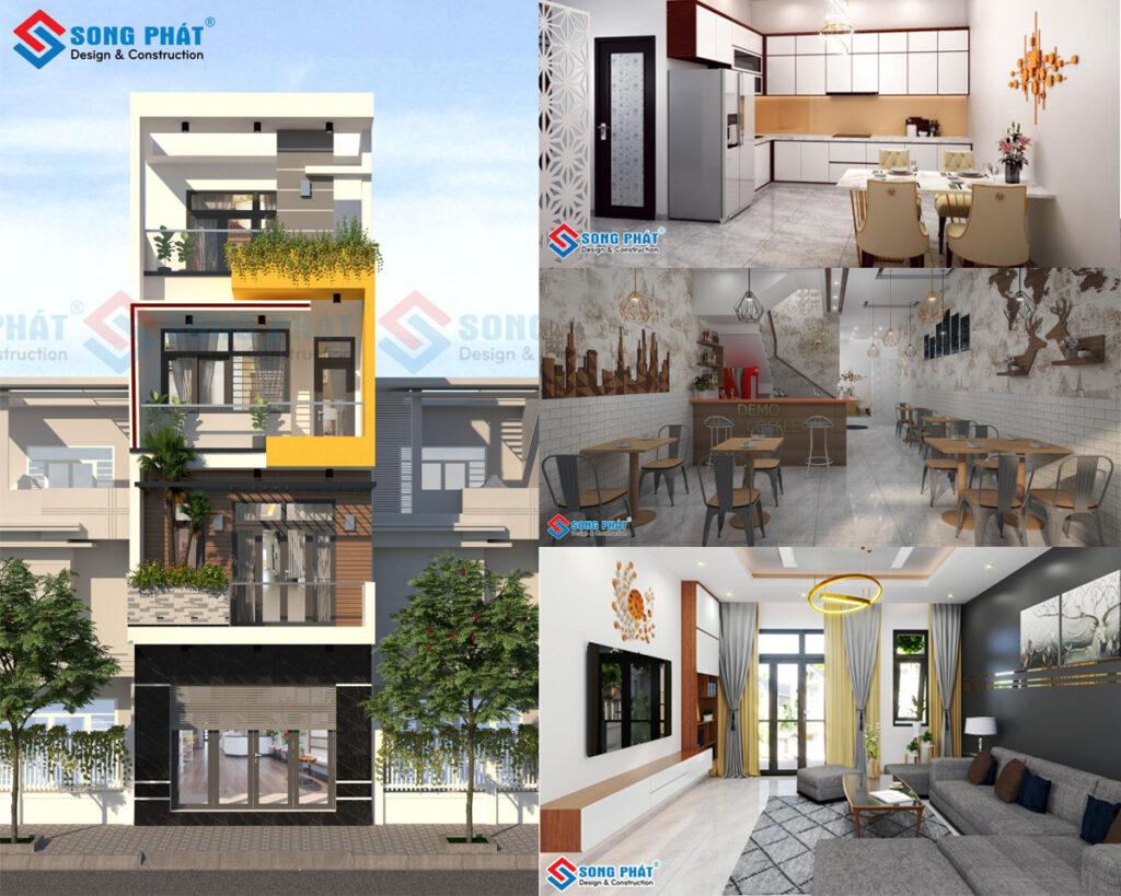 """Thiết kế nhà 4 tầng kết hợp kinh doanh với mặt tiền 5m """"Cực Đẹp"""" tại Nam Định."""