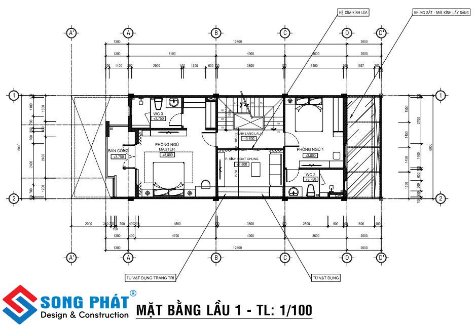 Kiến trúc nội thất nhà 1 trệt 2 lầu.