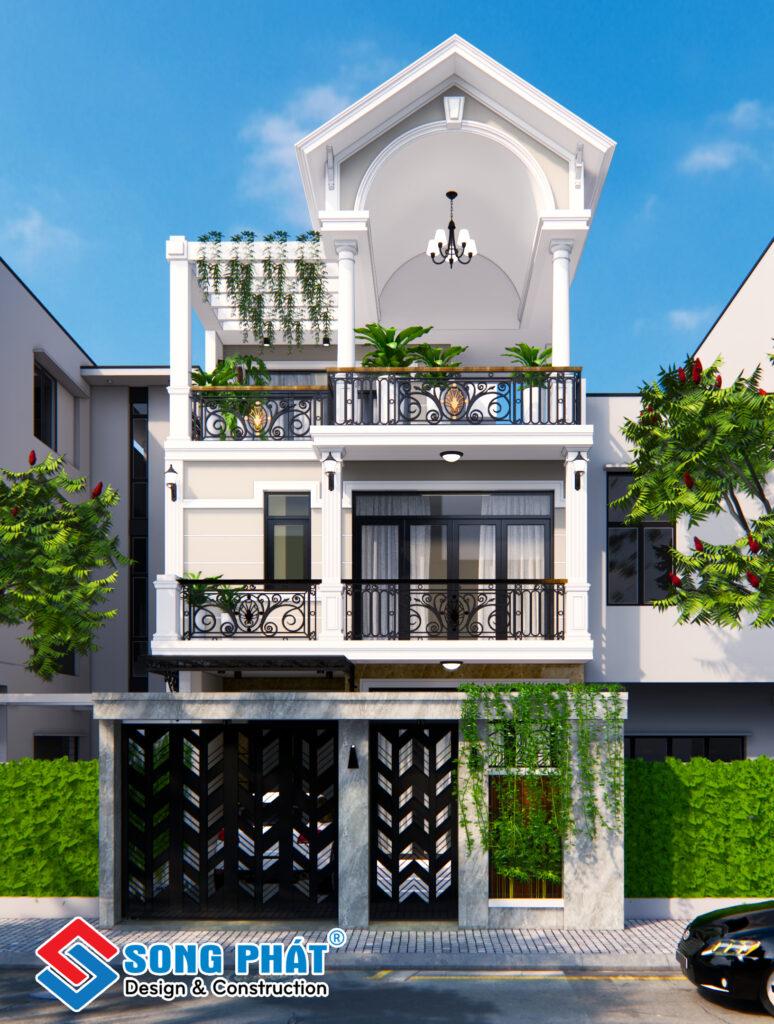 Thiết kế nhà 3 tầng Tân Cổ Điển.